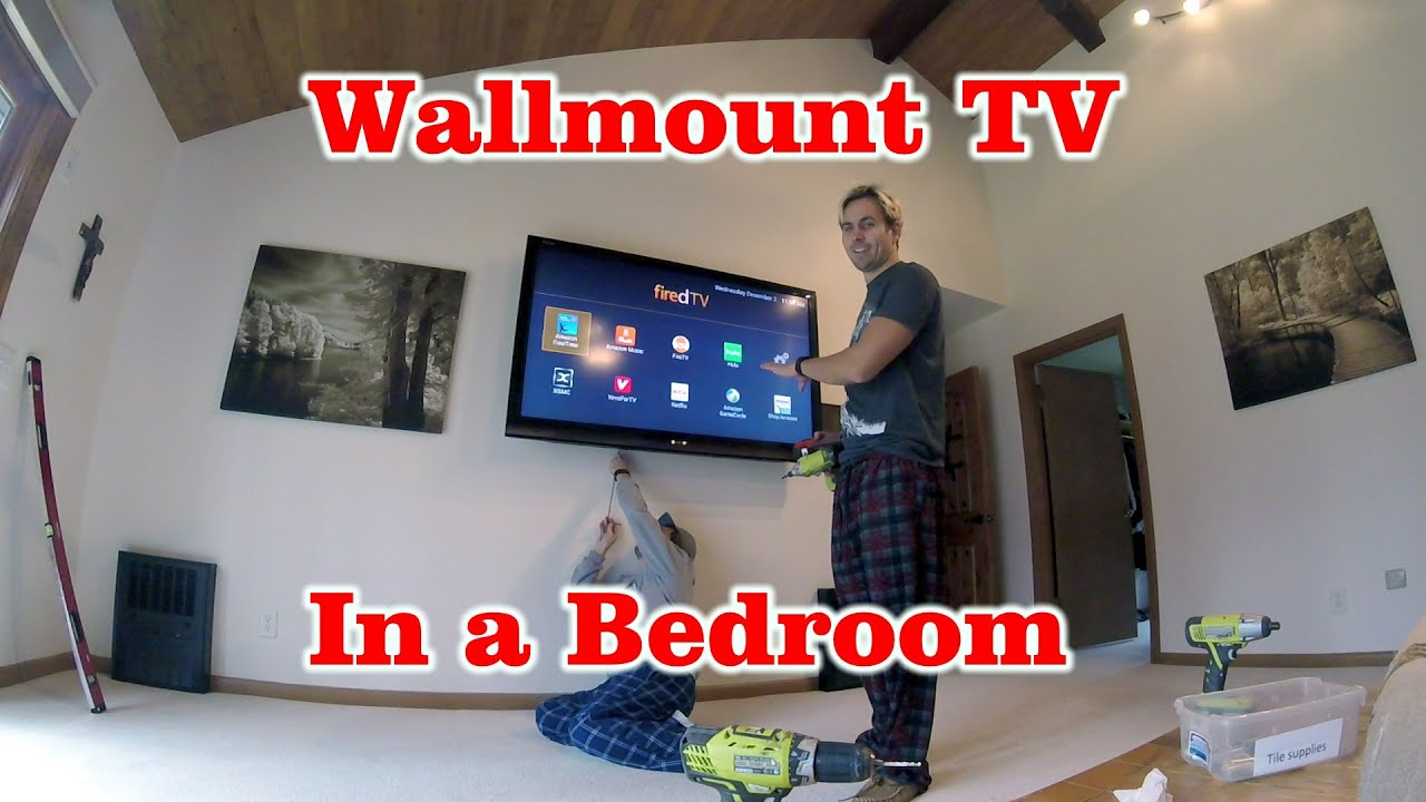 How To Wallmount A Lcd Tv In A Bedroom Youtube