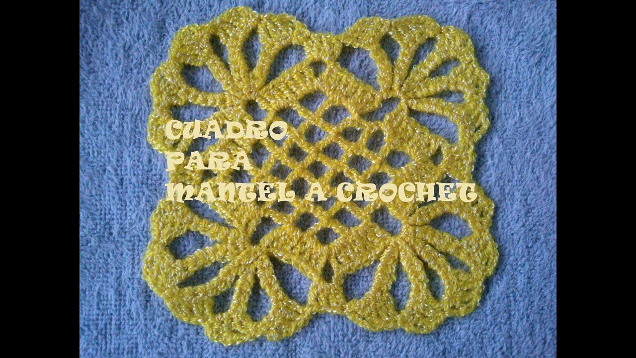 Como tejer un cuadro o pastilla para mantel a crochet - Mantel de crochet ...