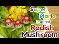 VEGETABLE CARVING| How to make a Radish Mushroom | Super Mario Inspired | Easy | Real sound |