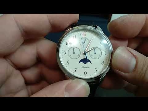AIDOPHEDO SEAGULL ST1908 MECHANICAL MOVEMENT CHRONOGRAPH & MOONPHASE WATCH UNBOXING