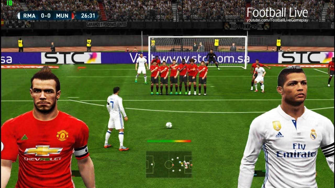 pes 2017 real madrid vs manchester united c ronaldo free kick goal last minute goal bale mu