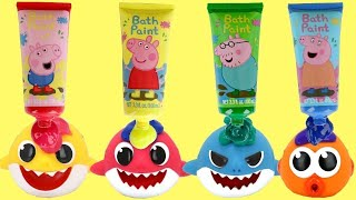 Pinkfong Baby Shark Bath Paint & Squirt Toy Surprises, Play Doh Lids and Nesting Dolls