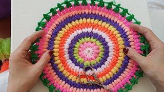 Kolay Yuvarlak Lif, Yastık Kılıfı, Paspas/ Easy Crochet Round Cushion