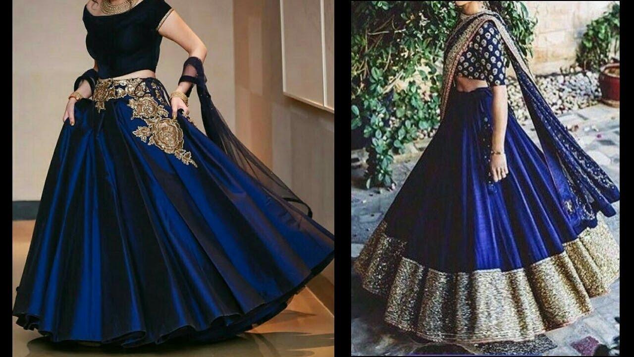 Latest Beautiful Lehenga Design In Blue Pakistani Indian For Girls 2017 18 Youtube