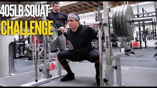 405lb FOR MAX REPS (Squat Challenge) Ft. Bart Kwan & Silent Mike
