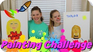 PAINTING CHALLENGE || ART CHALLENGE || PAINTING MY SISTERS PORTRAIT || Taylor and Vanessa