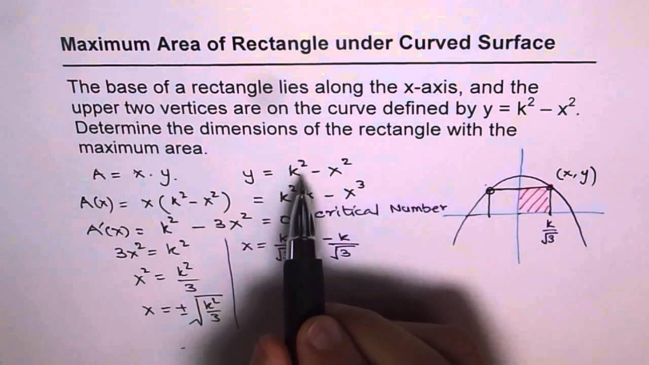 Maximum Area Of Rectangle Under A Curve Parabola K 2