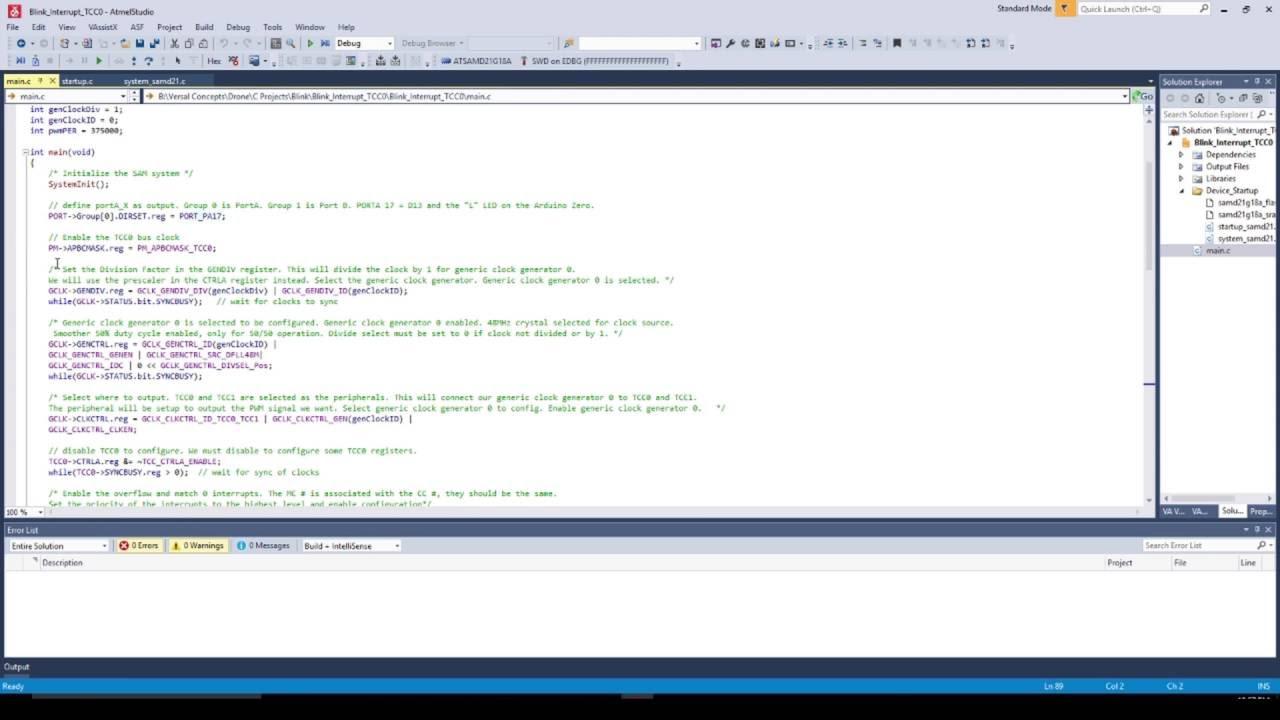 Arduino Zero and Atmel Studio 7   Blink LED via PWM Interrupt