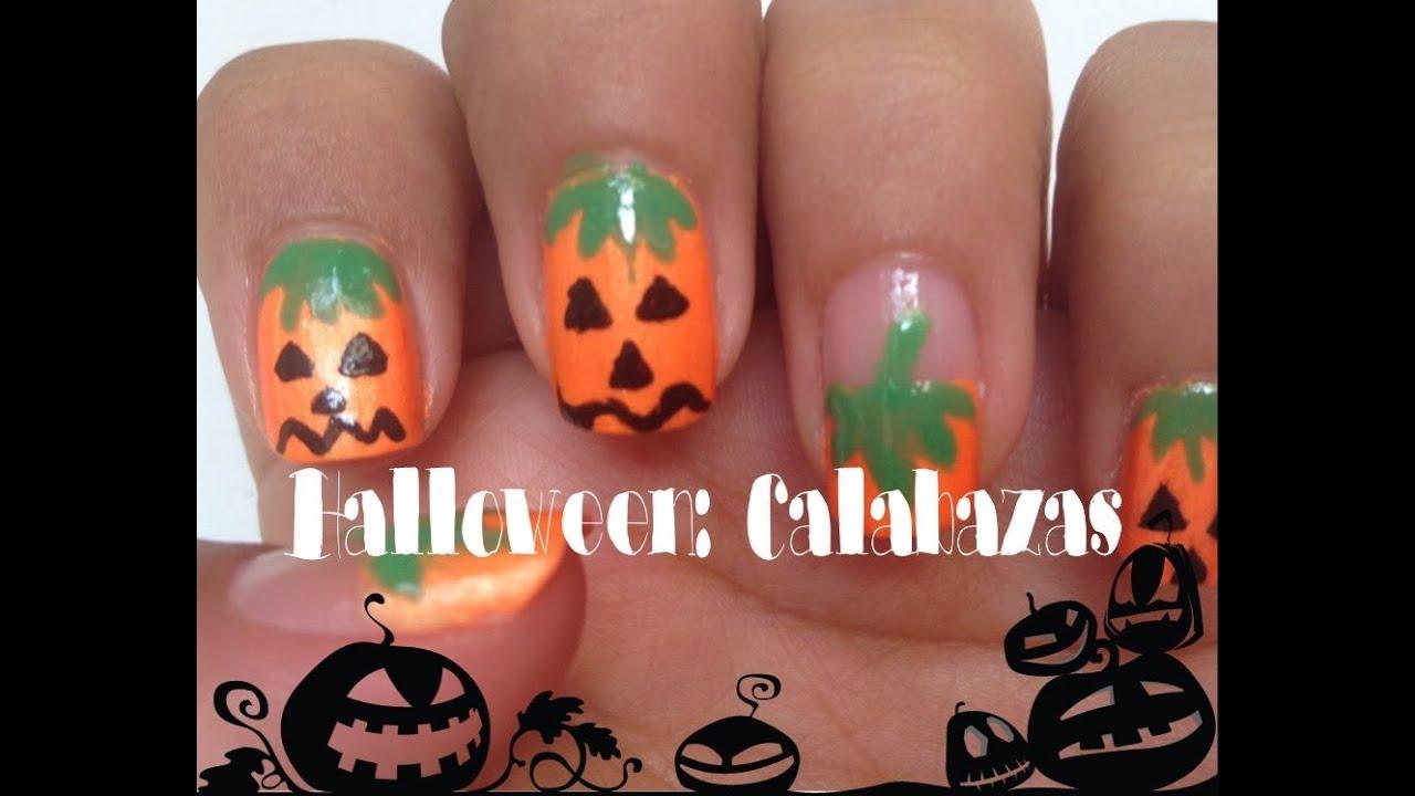 Diseño De Uñas Halloween Calabazas Superfacil Youtube