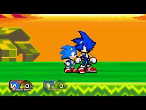 Classic Sonic Vs Modern Sonic SSF2 Mod Gameplay