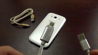 ОБЗОР: Фирменный Кабель для Зарядки и Синхронизации USB-microUSB с LED-индикатором (металл) DiGiYes