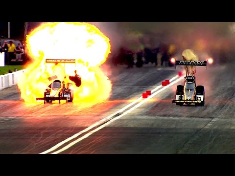 HUGE Fire for Top Fuel pilot McMillen at the #SpringNats in Houston