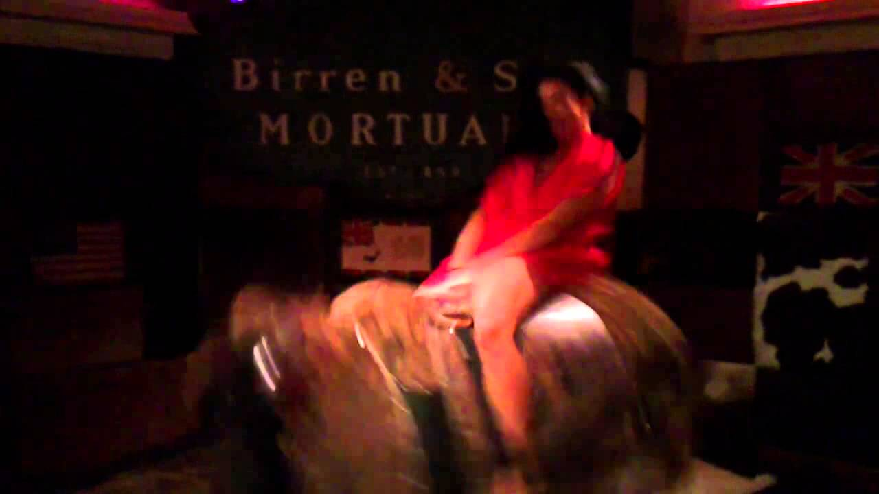Drunk Girl with Big Boobs Rides the Mechanical Bull Topless at the.