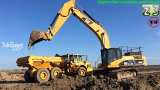 CAT 336DL Excavator Digging Loading Volvo A25D Articulated Dump Truck
