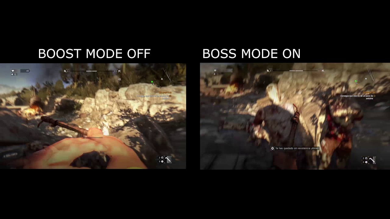 DYING LIGHT PS4 PRO Boost Mode On y boost mode Off Comparativa