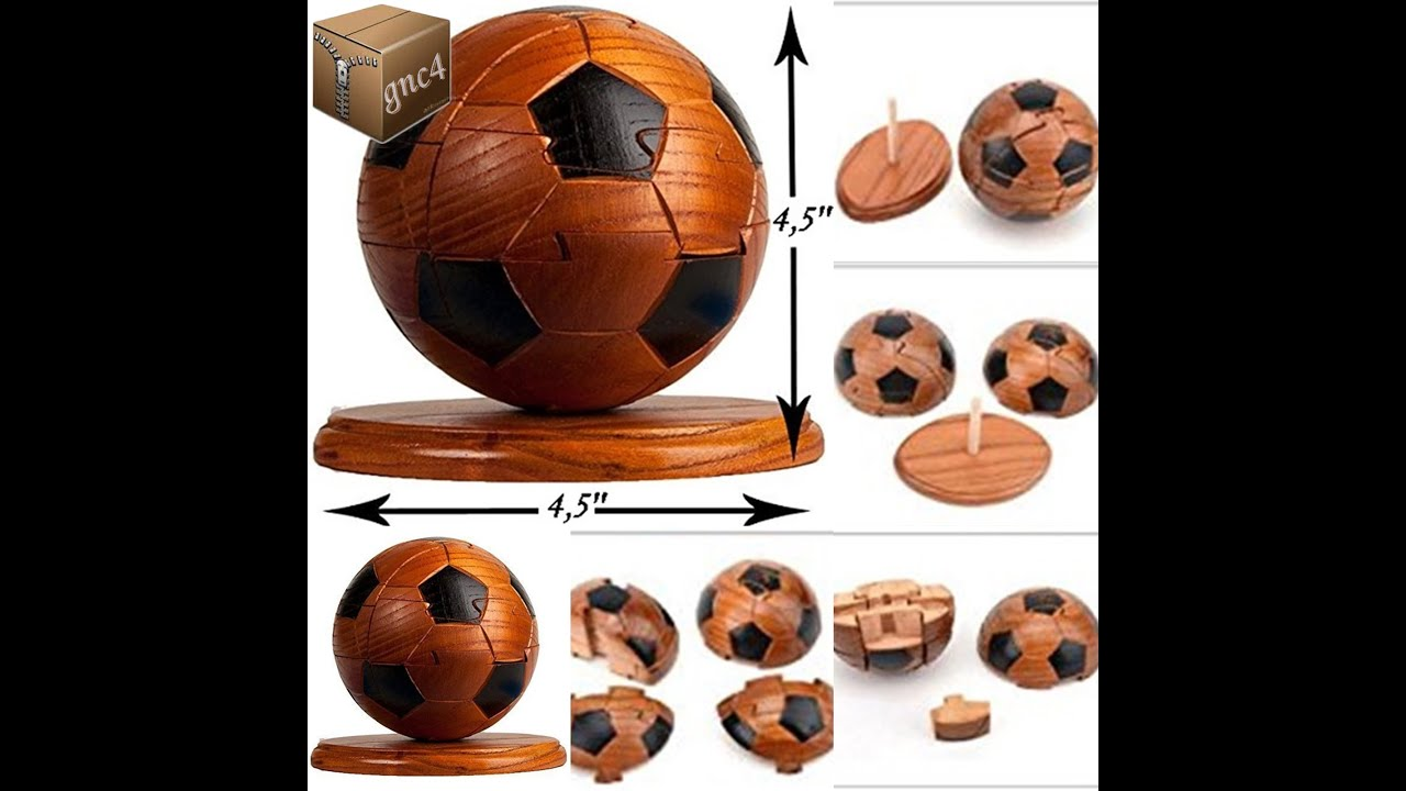3D Puzzle Wooden Sports Soccer Ball 3D Brainteaser Great Gift Sports Lovers