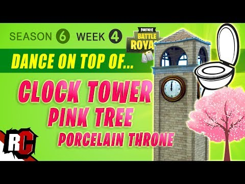 Fortnite Week 4 Dance On Top Of Clock Tower Pink Tree And Giant