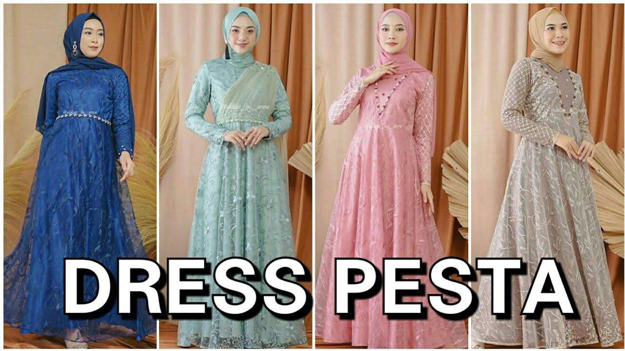 12 Model Baju Gamis Pesta Pernikahan Muslim Terbaru 12/12