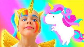Unicorn Makeup for kids Julia painting with colour paints