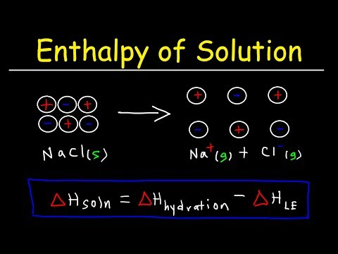 Enthalpy Of Solution, Enthalpy Of Hydration, Lattice Energy And Heat Of Formation - Chemistry