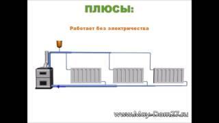 видео Схема отопления двухэтажного дома с естественной и принудительной циркуляцией