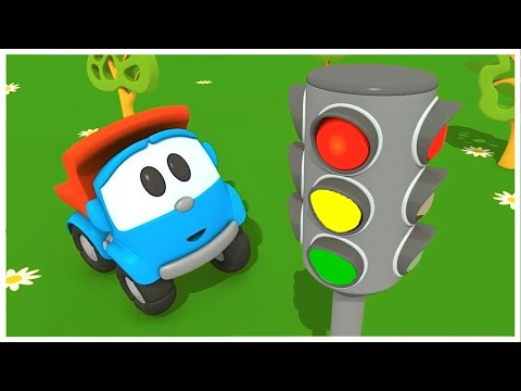 Car cartoon. Leo the truck and traffic light.