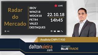 Radar (tarde) - IBOV, WINZ18, WDOX18, PETR4, VALE3 e destaques   22.10.18 #dvradar