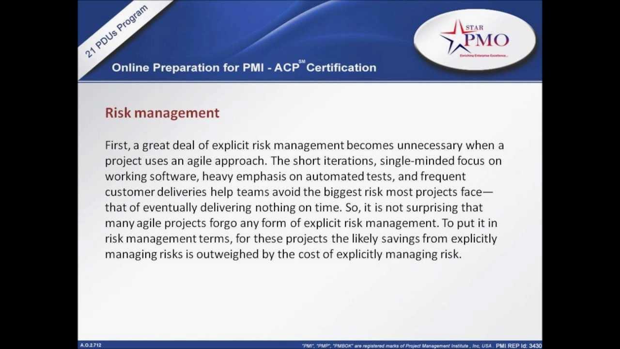 Risk Management Agile Training Agile Certification Pmi Acp