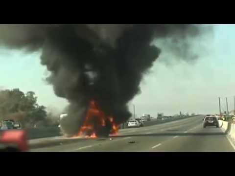 RAW Fiery Interstate 580 road crash in Livermore