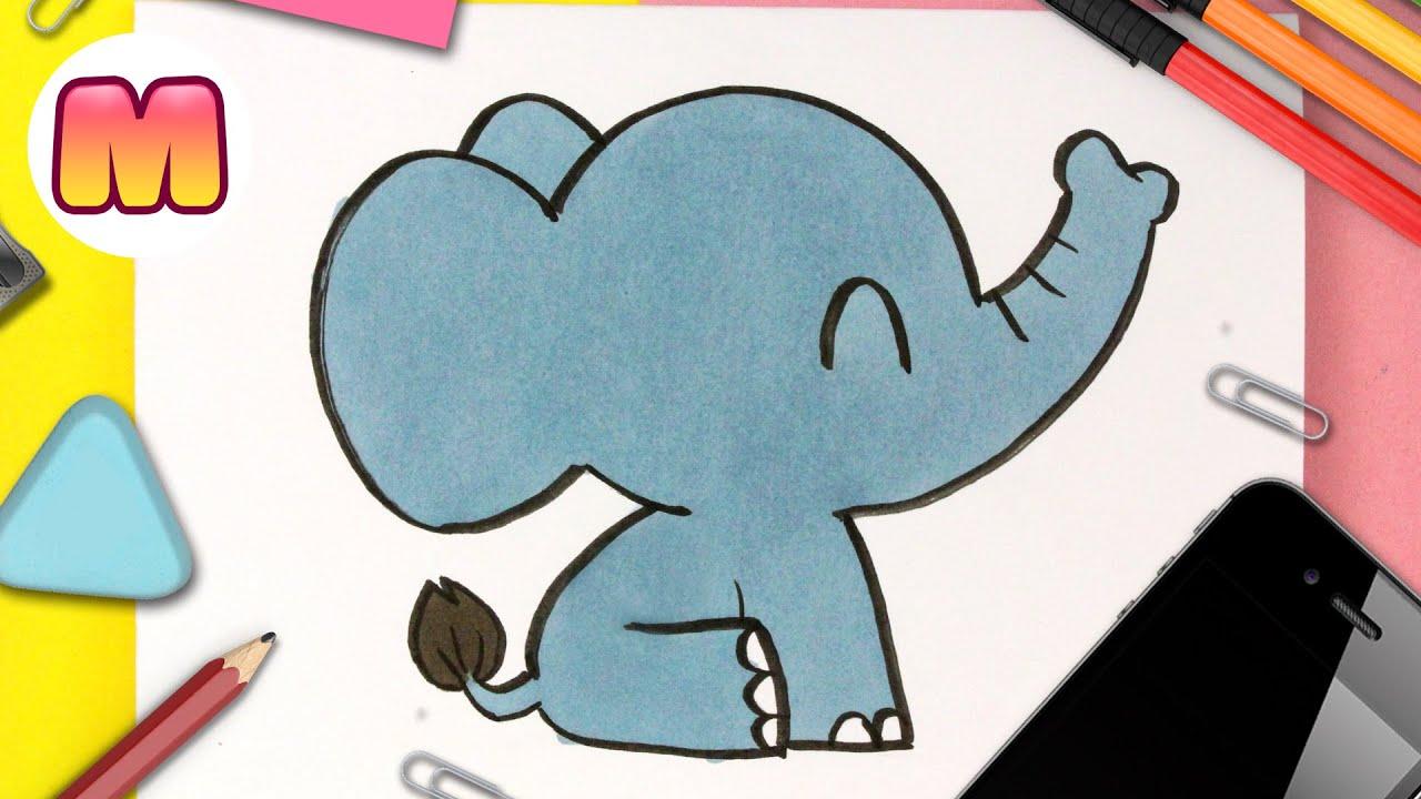 COMO DIBUJAR UN ELEFANTE KAWAII - Dibujos kawaii faciles - Aprender a dibujar animales kawaii