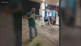 Couple protects cash after ATM smash-and-grab