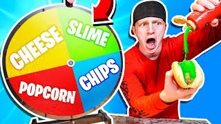 MYSTERY WHEEL OF HOT DOG CHALLENGE! *GROSS*