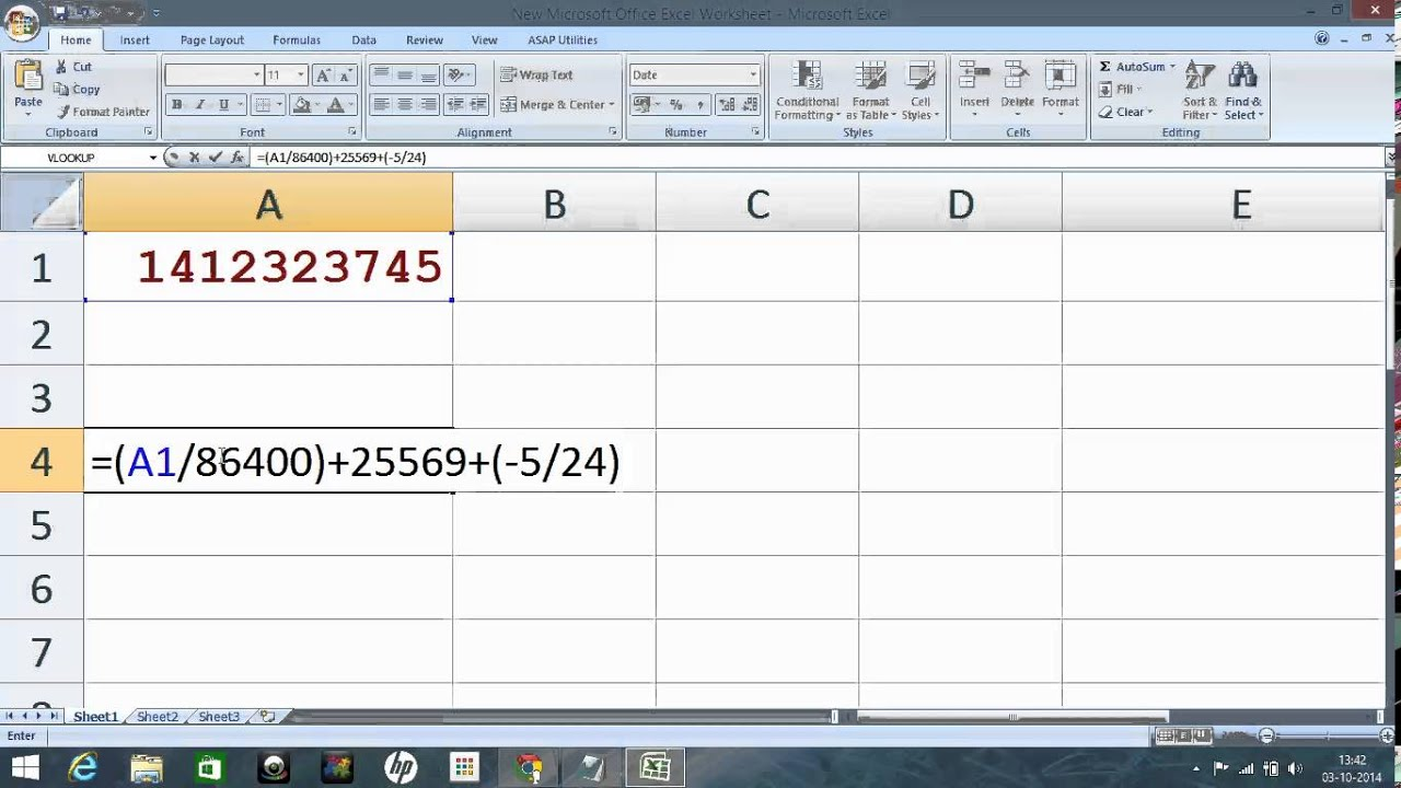 Excel formula : Convert Unix time to real time/date