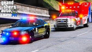 GTA 5 LSPDFR Police Mod 456   Los Santos County Sheriff Escorting A Injured Prisoner In An Ambulance