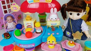 Baby doll food shop and Play doh kitchen cooking toys Baby Shark play 아기인형과 아기상어 음식 가게 요리 장난감 - 토이몽