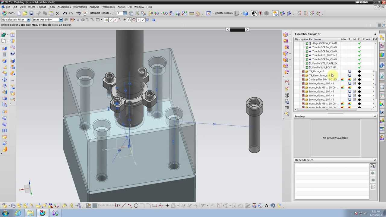 tutorial nx 7 5 basic concept assembly multi part bolt and clamp rh youtube com