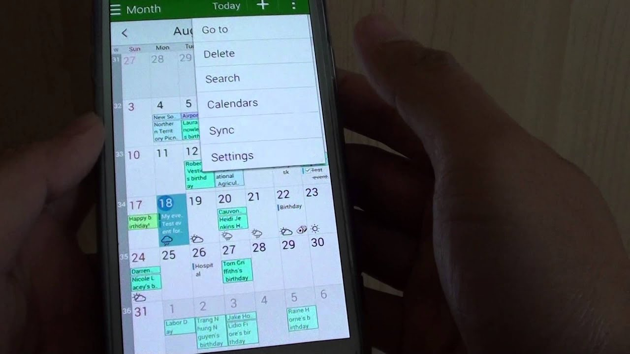 samsung galaxy s5: how to enable / disable calendar event