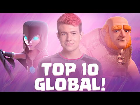 TOP 10 GLOBAL GAMEPLAY! 7500 TROPHIES WITH GIANT NIGHTWITCH - Clash Royale