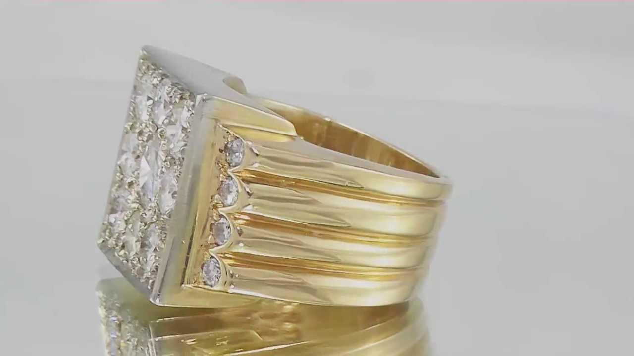 5.00ctw Man\'s BIG Diamond Cluster Ring Round Brilliant 14K Gold ...