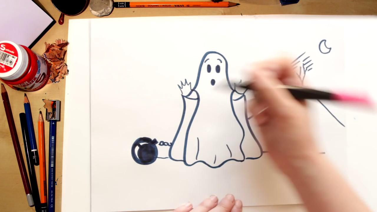 Como Desenhar Um Fantasma Desenhos De Halloween Para Criancas