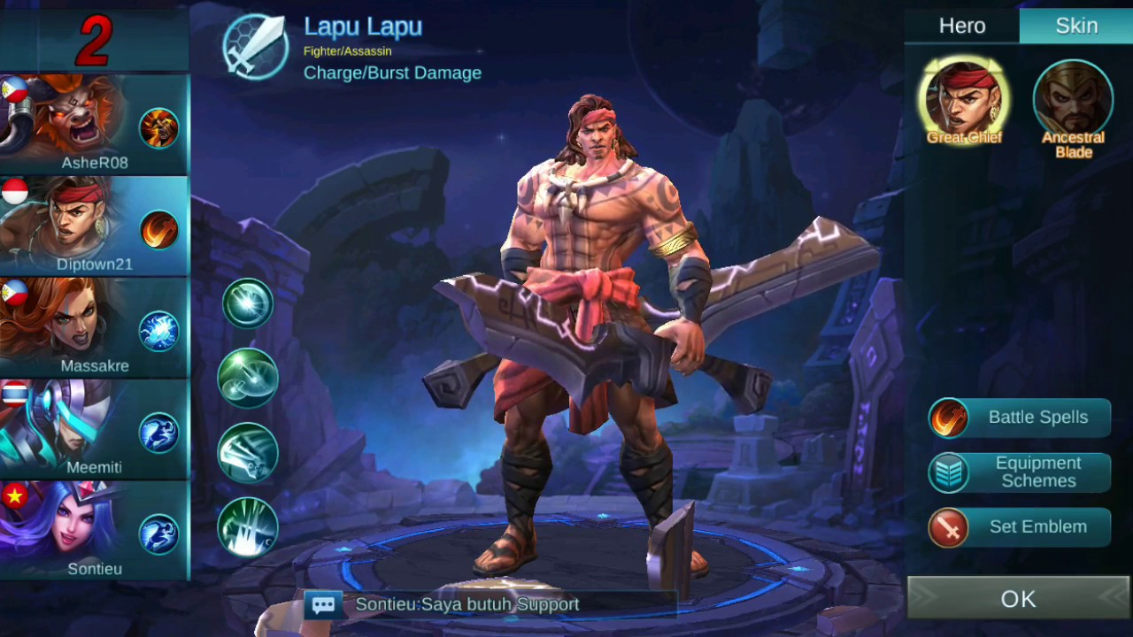 mobile legend : new hero lapu lapu great chief gameplay