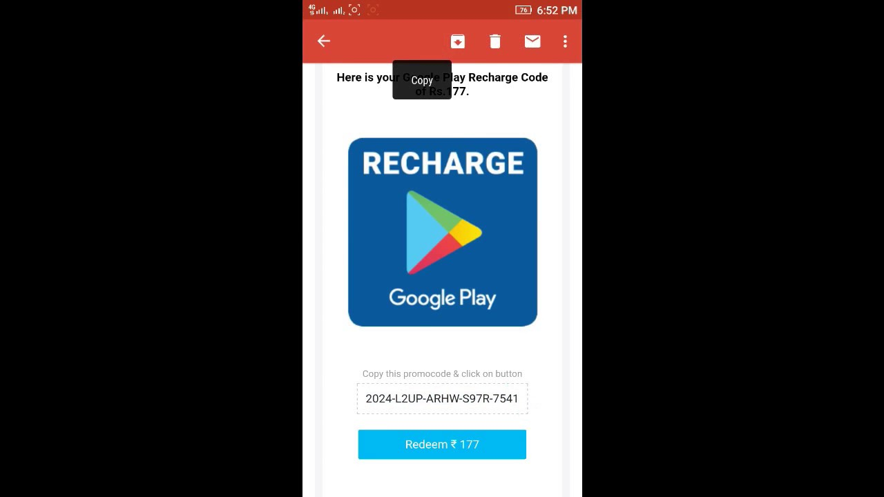 use payTM to recharge google play account, redeem code ...