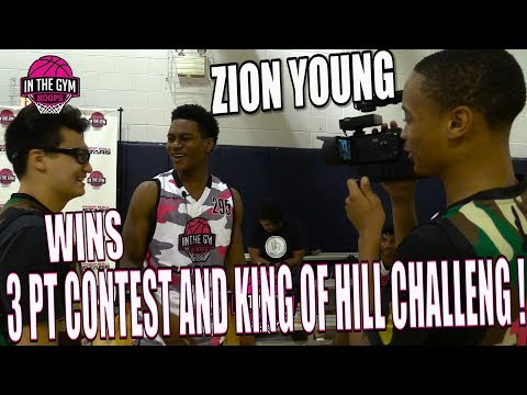Zion Young Wins Inthegymhoops 3 pts shootout & King Of The Hill Mic'd Up with Xavier Pinson Filming
