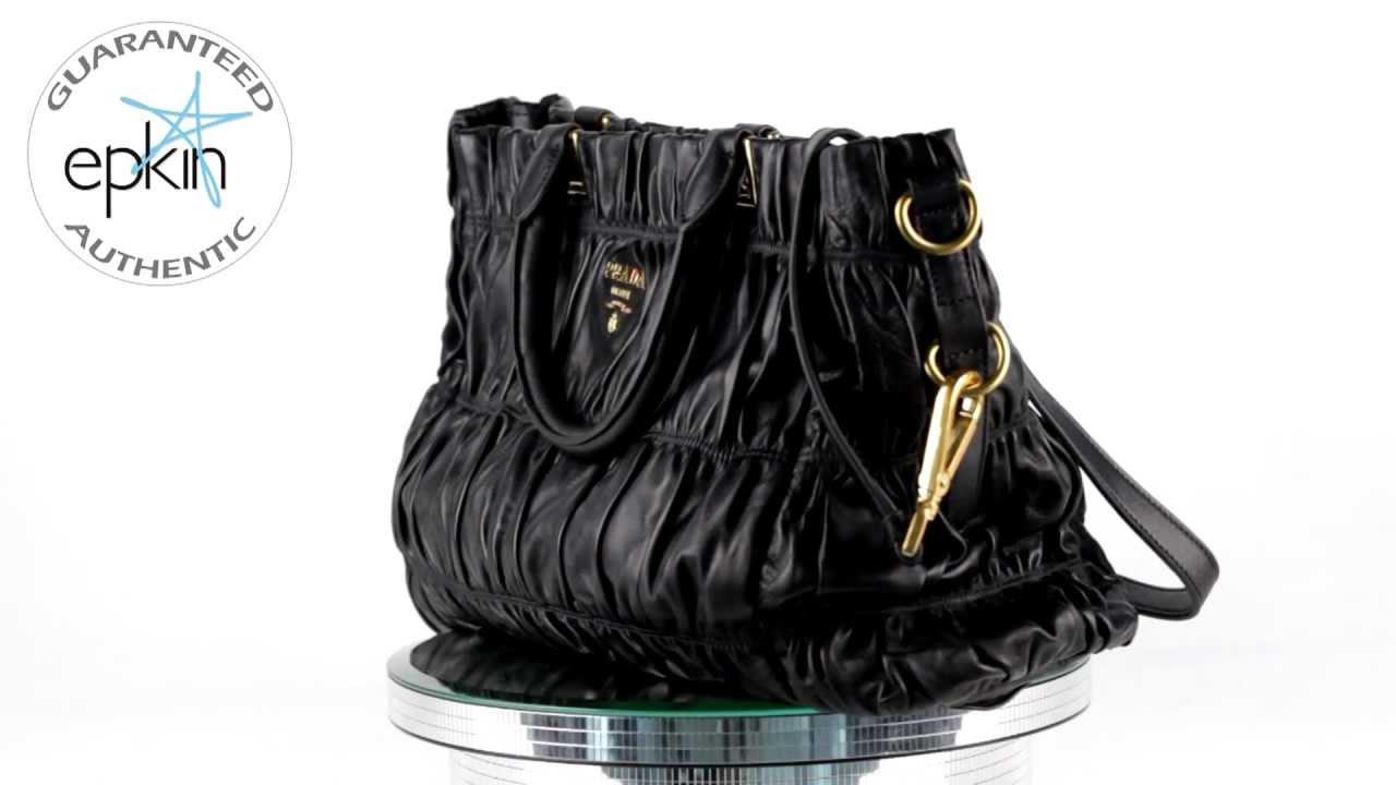 Prada Nappa Tessuto Gauffre Leather Tote Handbag Bag Gold HW ...