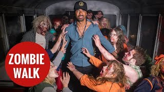 David Haye braves the Living Nightmare Extreme Walking Dead maze at Thorpe Park