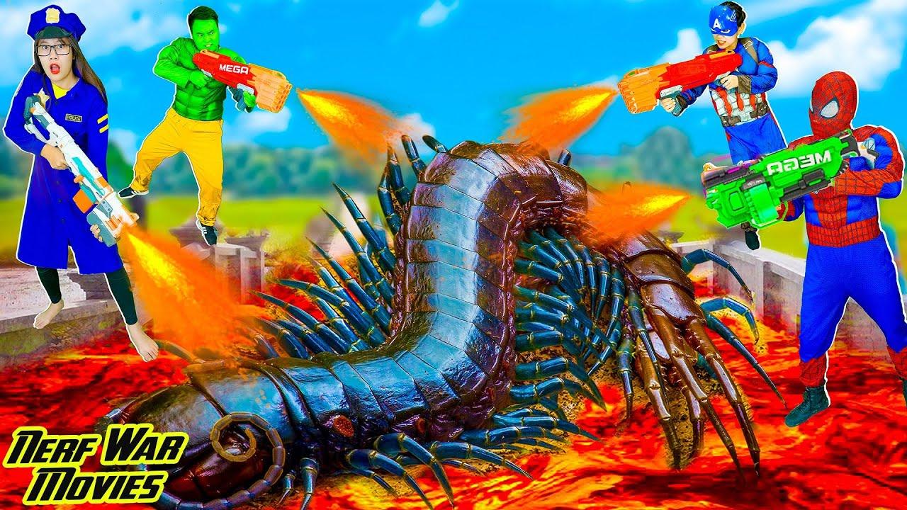 Nerf War Movies: Spiderman X Warriors Nerf Guns Fight Criminal Group Giant Centipede Monster