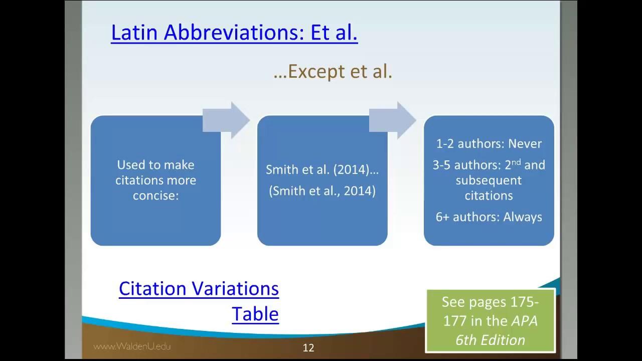 Using et al  - Citations - Academic Guides at Walden University