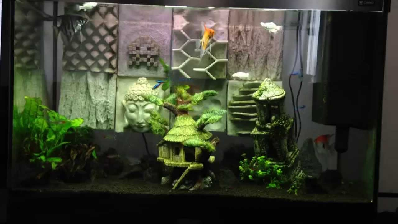 d coration d 39 aquarium original recif youtube. Black Bedroom Furniture Sets. Home Design Ideas