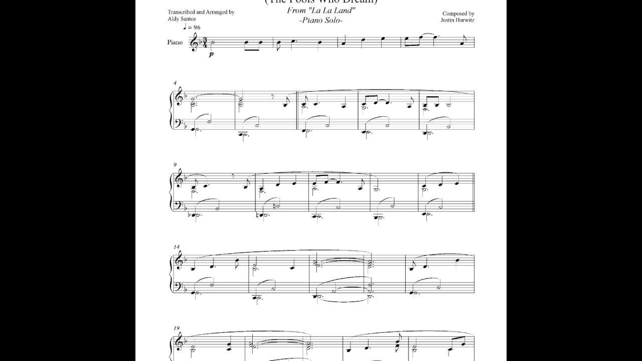 la la land audition piano sheet music pdf