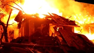 A night in Luhansk. The consequencies of artillery attack. Ukraine Luhansk People's Republic.